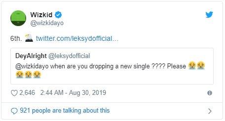 wizkid twitter reply to a fan