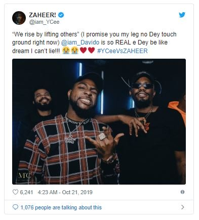 Ycee tweet about davido